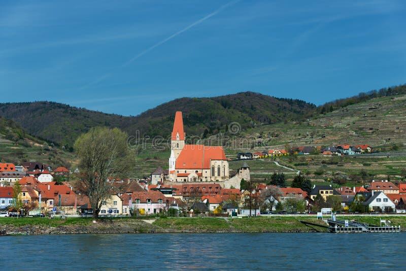 View on Weissenkirchen in the Wachau stock photo