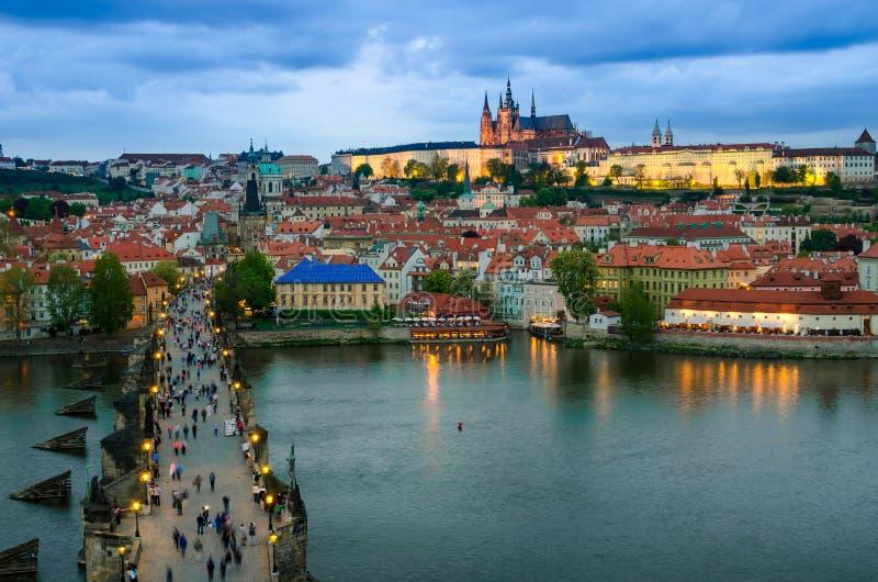 View over the Vltava river of Prague, capital of Cze stock photo