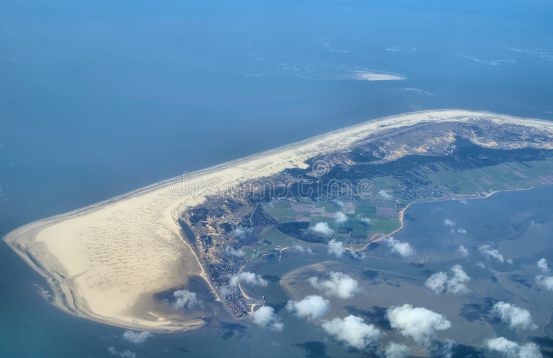 View over wadden sea islands royalty free stock images