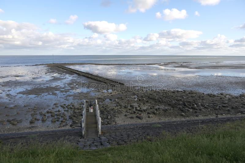 View over the Wadden Sea at low tide royalty free stock photos