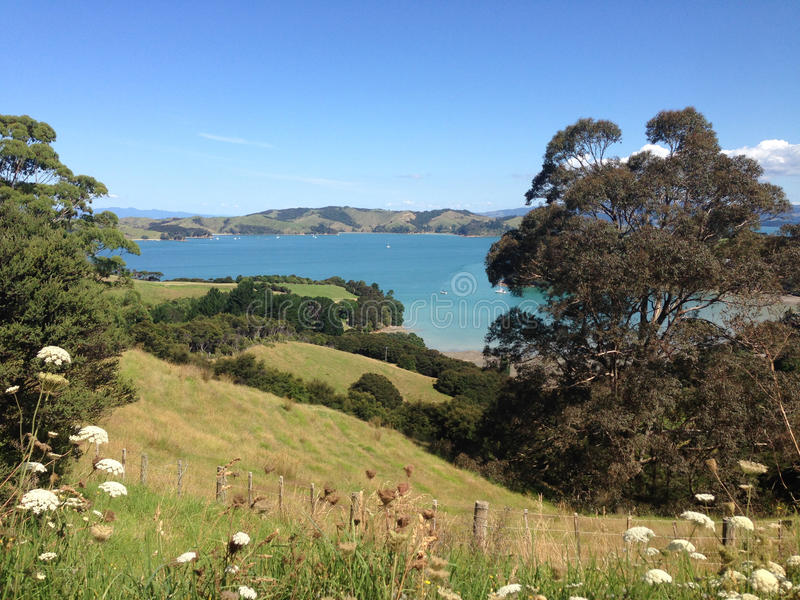 View over Waiheke Island landscape stock photography