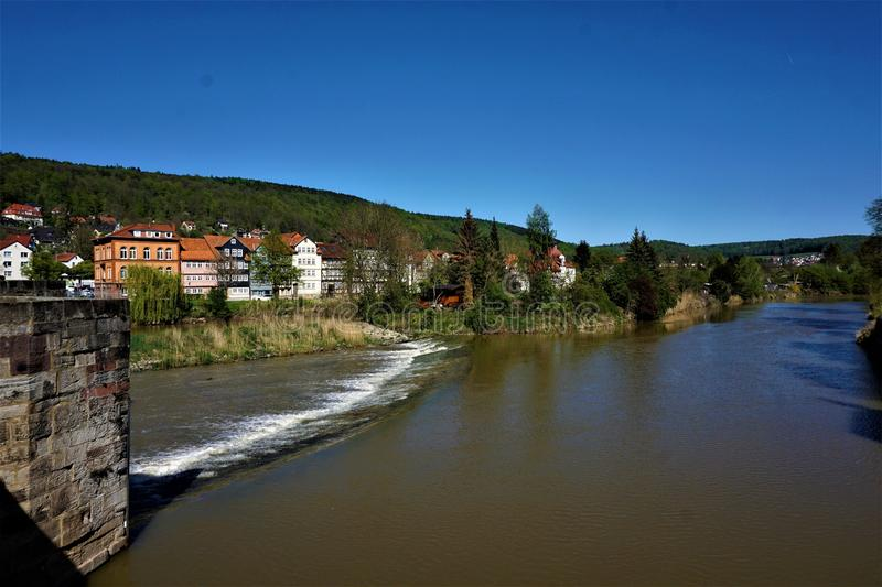 View over the Werra river in Hann. Munden stock photo