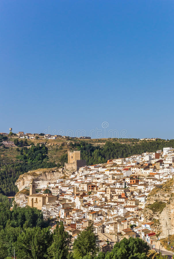 View over white houses of Alcala del Jucar. Spain royalty free stock images