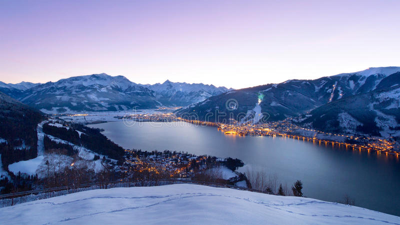 View over Zell am See at night in winter, Austria stock image