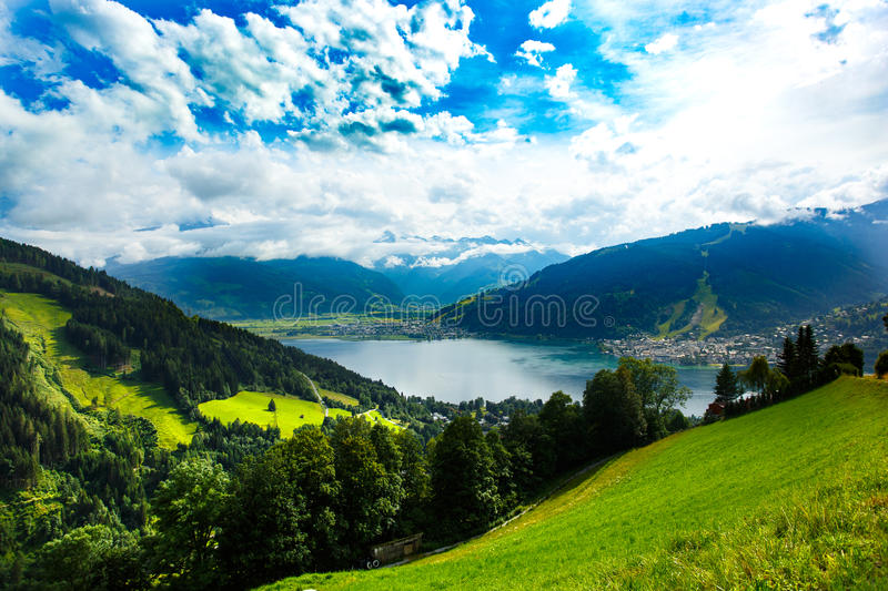 View over Zeller See lake. Zell Am See, Austria, Europe. royalty free stock photography
