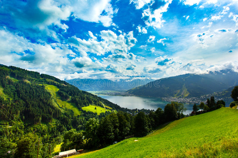 View over Zeller See lake. Zell Am See, Austria, Europe. stock photo