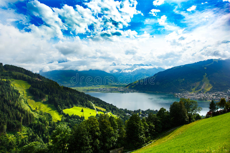 View over Zeller See lake. Zell Am See, Austria, Europe. royalty free stock photo
