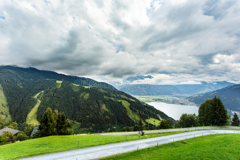 View over Zeller See lake. Zell Am See, Austria, Europe. stock images