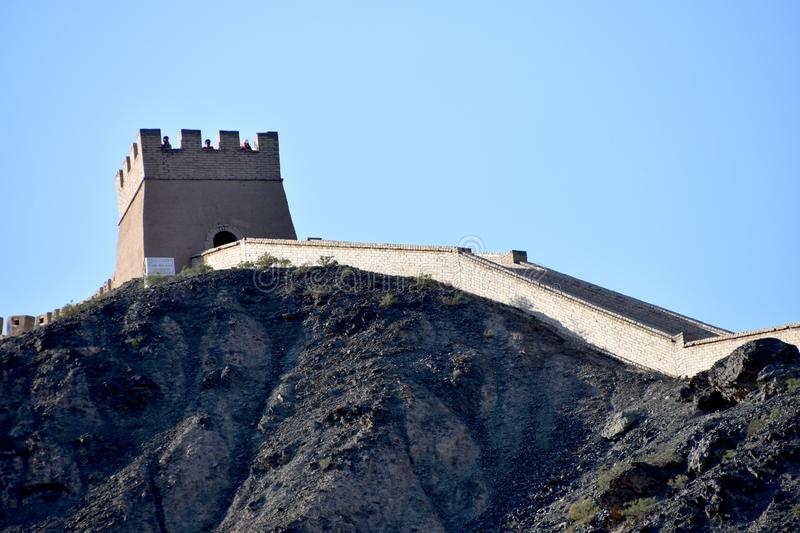 View of the Overhanging Great Wall at Jiayuguan, China stock image