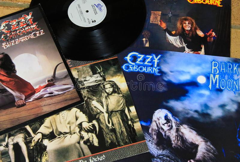 View on Ozzy Osbourne vintage vinyl record collection royalty free stock photography