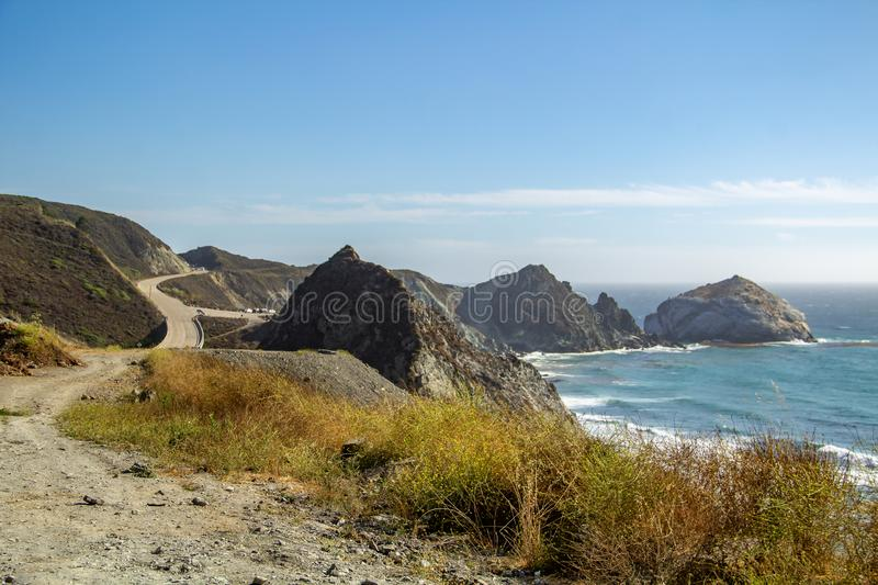 View from the Pacific Coast Highway No. 1 on the ocean in California stock photos