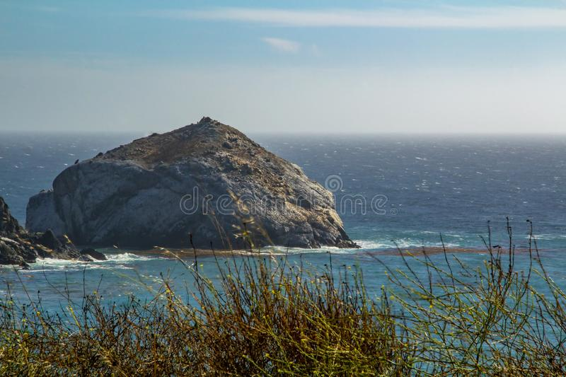 View from the Pacific Coast Highway No. 1 on the ocean in California royalty free stock photo