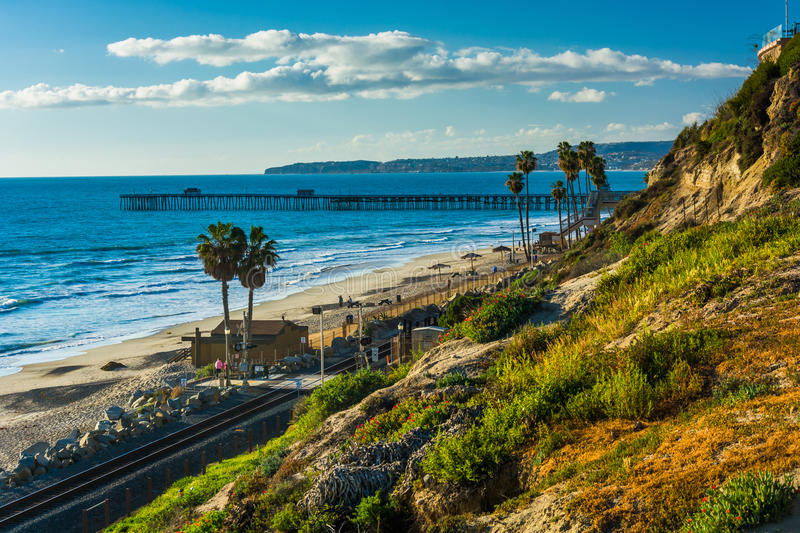View of the Pacific Ocean and fishing pier from a cliff stock photo