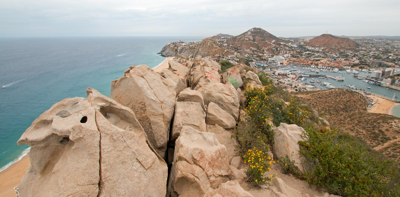 View of Pacific and Sea of Cortes and Cabo San Lucas marina as seen from the top of Mount Solmar in Baja California Mexico. View of Pacific Ocean and Sea of stock image