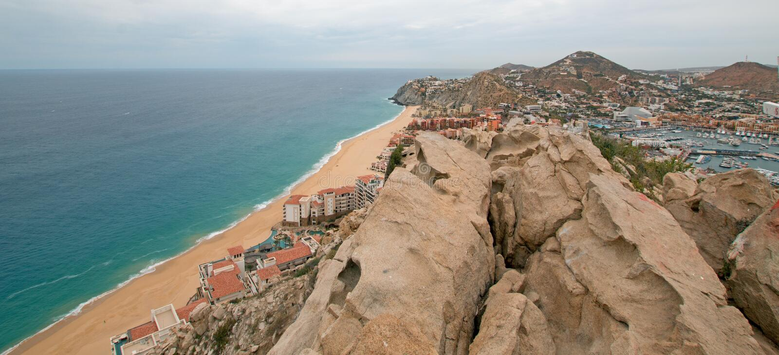 View of Pacific and Sea of Cortes and Cabo San Lucas marina as seen from the top of Mount Solmar in Baja California Mexico. View of Pacific Ocean and Sea of stock photo