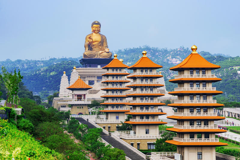 View of Pagodas and Buddha statue. With scenic mountain surroundings in Fo Guang Shan stock photo