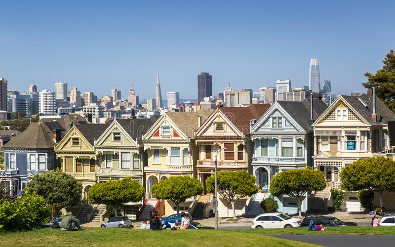 View of Painted Ladies, Victorian wooden houses, Alamo Square, San Francisco, California, United States of America stock images