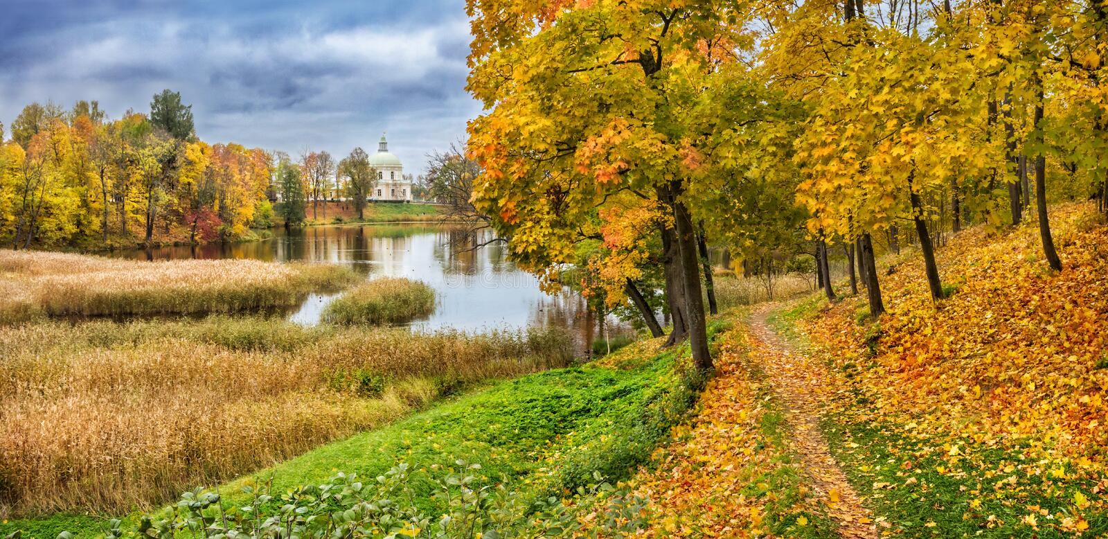 View of the palace in the city of Lomonosov royalty free stock images