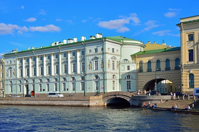 View of Palace embankment and the Winter canal to the Neva river stock photography