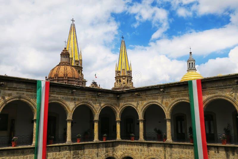 A view of Palacio de Gobierno del Estado de Jalisco in Guadalajara, Mexico. A view from the inner patio of the governmental palace Palacio de Gobierno del Estado stock images