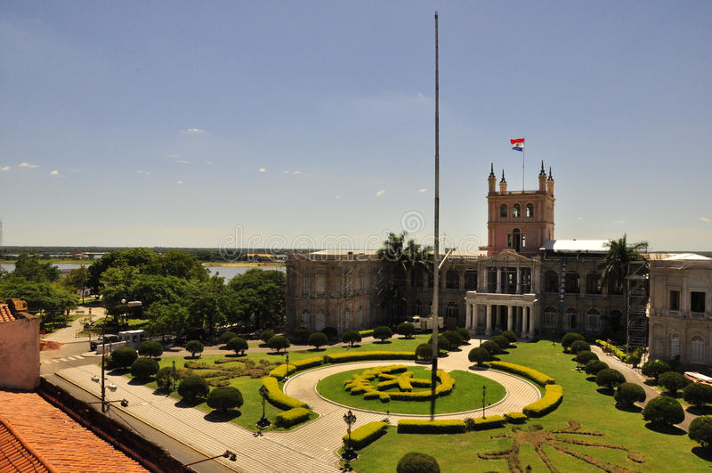 View of Palacio Lopez in Asuncion, Paraguay. Palacio de López (Spanish for Palace of the Lopez) is a palace in Asuncion, Paraguay, that serves as workplace royalty free stock photography