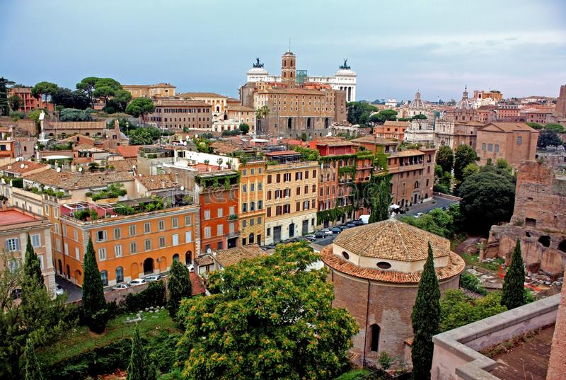 A view from Palatine Hill. To to Capitol Hill and the S. Teodoro street royalty free stock photo