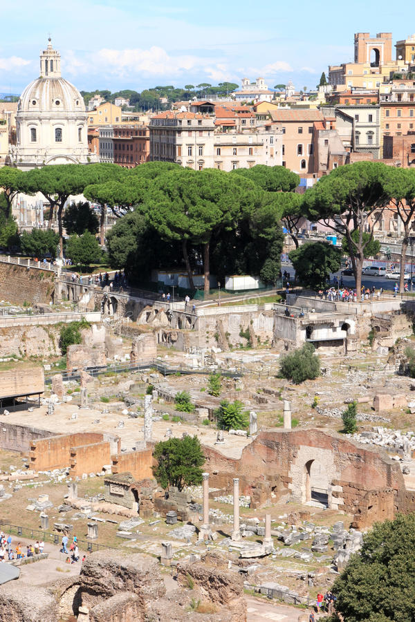 View from the Palatine Hill at roman forum in Rome, Italy. View from the Palatine Hill in the Italian capital of Rome at the Roman Forum, an ancient market place stock image