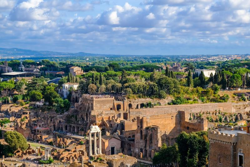 View of the Palatine Hill and the ruins of Ancient Rome. stock image