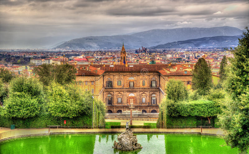 View of the Palazzo Pitti in Florence. Italy stock images