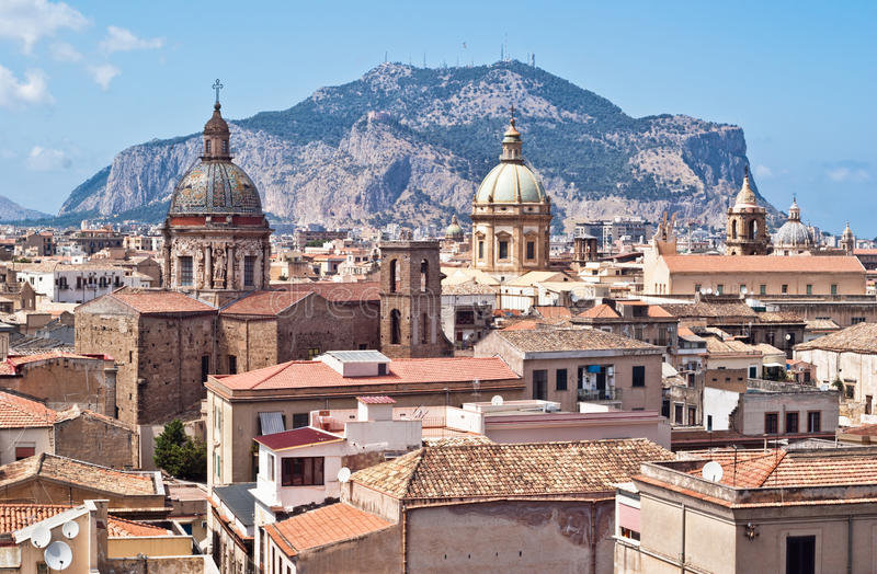 View of Palermo with old houses and monuments royalty free stock photography