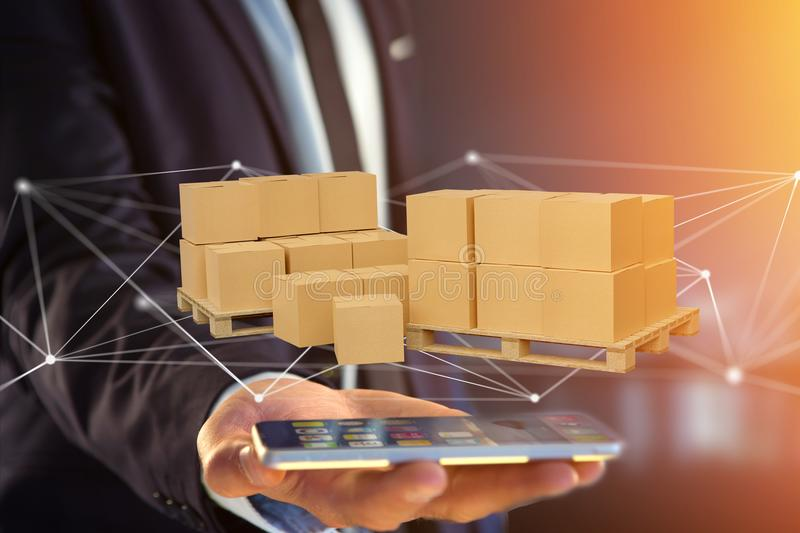 Pallet of carboxes with network connection system - 3d render stock photo