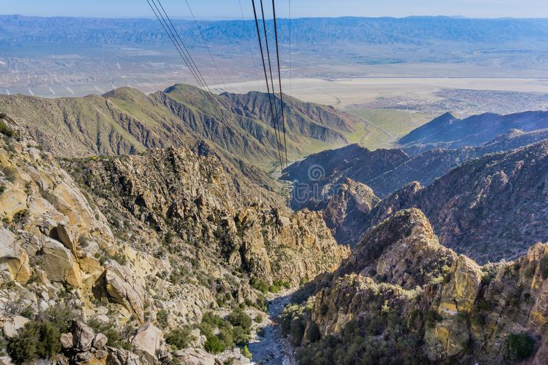 View from the Palm Springs Aerial Tramway on the way up San Jacinto mountain, California royalty free stock photo