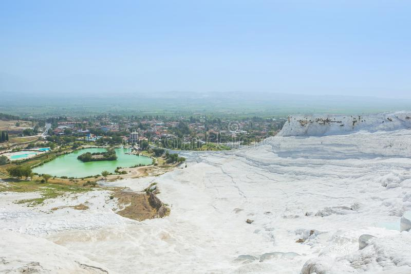 View of the Pamukkale, Turkey. Sights of Turkey - white mountain. S of calcareous deposits - travertines in Pammukalle royalty free stock photos