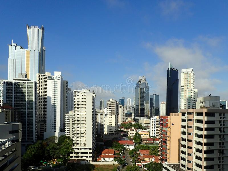 A view of Panama City downtown buildings from a high vantage point royalty free stock images