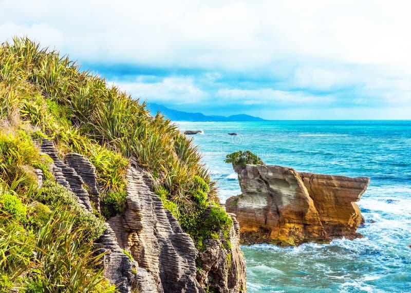 View of pancake rocks in Punakaiki, South island, New Zealand stock image
