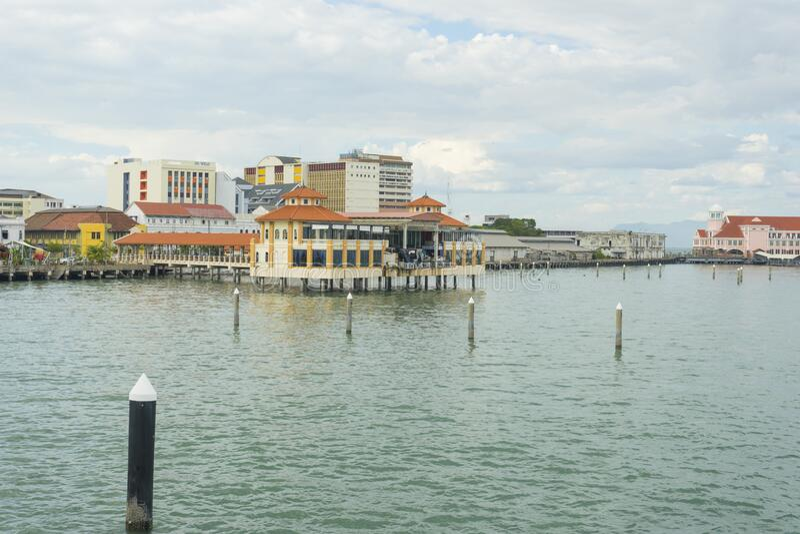 View of Pangkalan Raja Tun Uda Ferry Terminal in Penang royalty free stock photography