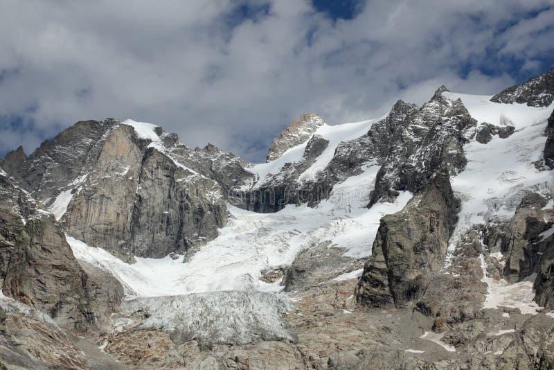 Climate change on italian alp, a melting glacier stock image