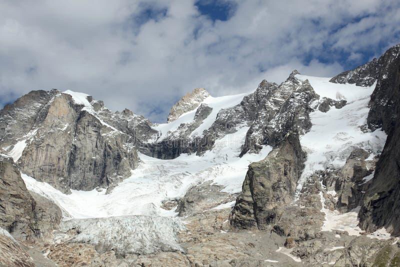 Melting glacier on italian alps stock photo