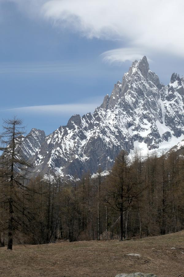 View on aiguille noire, a tall mountain on italian alps. View on a panorama in italian alps stock images