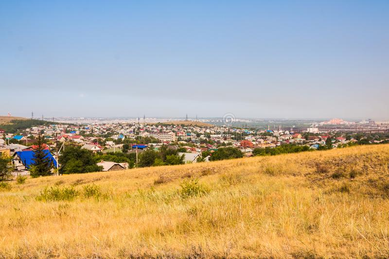 View panorama to old part of Magnitogorsk city with small houses royalty free stock photos
