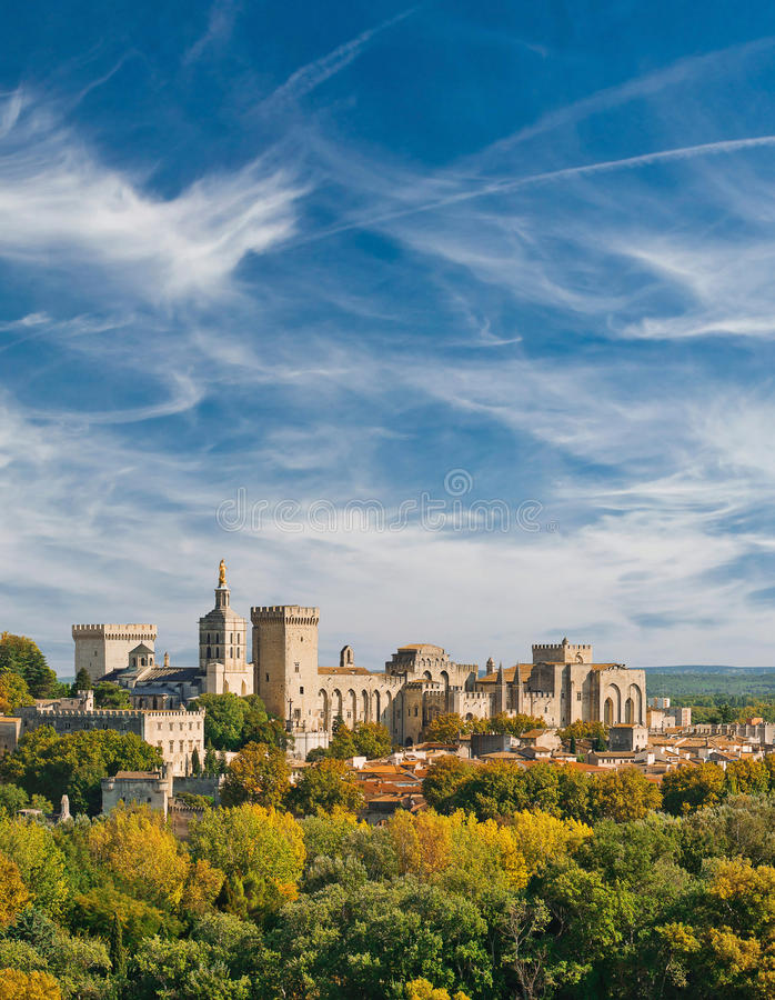 View of Papal palace in Avignon. France. Autumn 2015 royalty free stock images