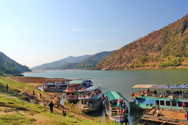 View of papikondalu and river godavari, India stock photo