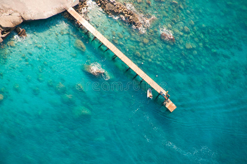 View from parachute on boat landing royalty free stock images