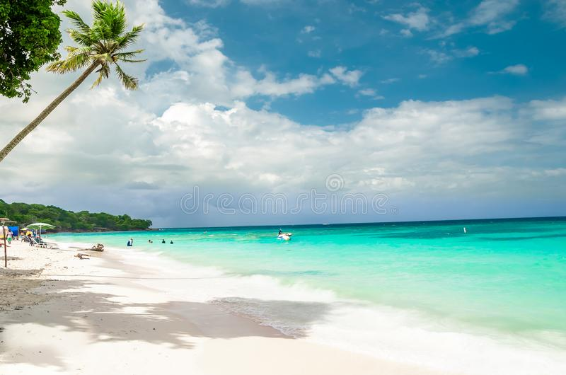 Paradies beach of Playa Blanca on Island Baru by Cartagena in Colombia. View on paradies beach of Playa Blanca on Island Baru by Cartagena in Colombia royalty free stock photography