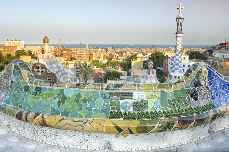 View from Parc Guell designed by Antoni Gaudi, Barcelona, Spain. The Park Güell is a public park system composed of gardens and architectonic elements located royalty free stock photos