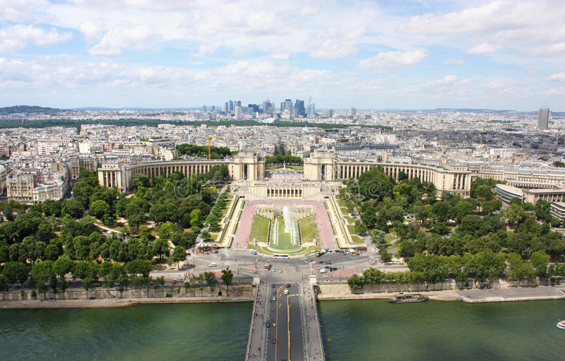 View of Paris. From the top of Eiffel tower in summer royalty free stock photo