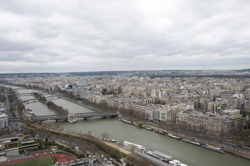 View paris from Eiffel Tower. View of Paris from the top of Eiffel Tower stock photography