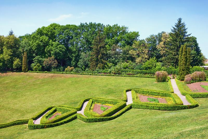View of park botanical garden Sofiyivka in Uman city, Ukraine. View of park botanical garden Sofiyivka in Uman city, Central Ukraine royalty free stock photography