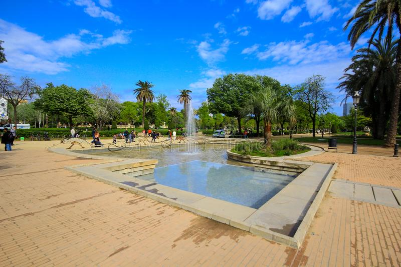 View of the park in the center of Barcelona called Parc de la ciutadella stock photography