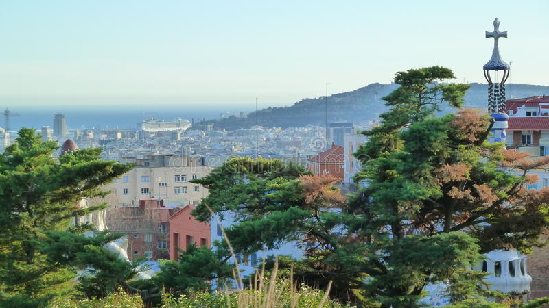 View from Park Guell in Barcelona (Spain). The Park Guell is a public park system composed of gardens and architectonic elements located on Carmel Hill, in royalty free stock photo